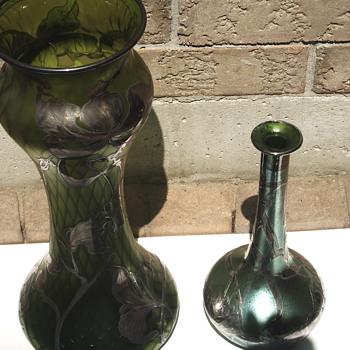 "My Silver inlay Duo""STEUBEN Vs LOETZ,Early 1900 - Art Glass"