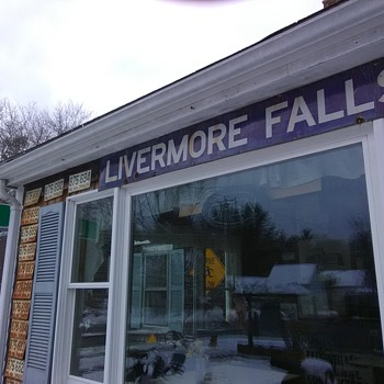 Porcelain Livermore Falls Maine Railroad Station sign - Railroadiana