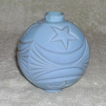 Blue Milk Glass Lightning Rod Ball - Glassware