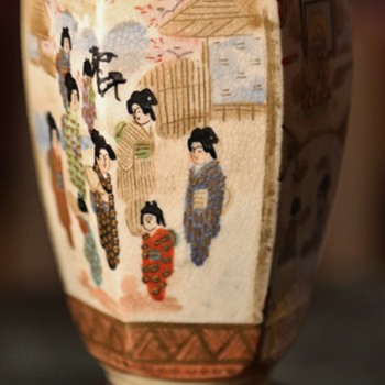 Satsuma Vase Depicting Women in the Garden and Monks - Pottery