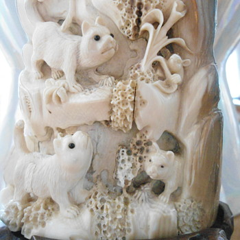Carved Wooly Mammoth Ivory of  some kind of animals  - Asian