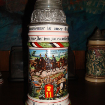 Imperial German Reservist's stein named to Artilleryman Seim, 11th Prussian Field Artillery