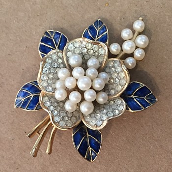 Trifari Blue Enamel, Rhinestone and Pearl Brooch, circa 1960s. - Costume Jewelry