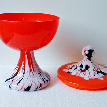 Art Deco Kralik? Orange White Black Spatter Lidded Candy Dish - Art Glass