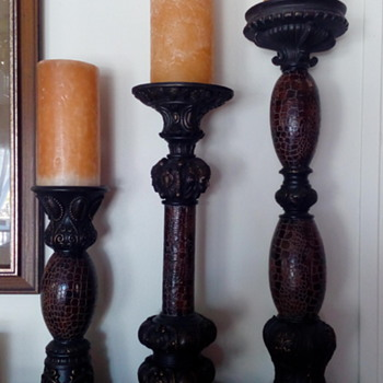 3 Piece Leather Alligator Style Candlesticks - Very Tall