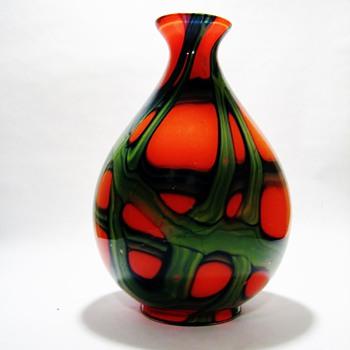 KRALIK -TANGO WEBBED GREEN TEAR DROP BALL VASE  - Art Glass
