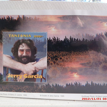 1995 Tanzanian postage stamp commemorating Grateful Dead's Jerry Garcia