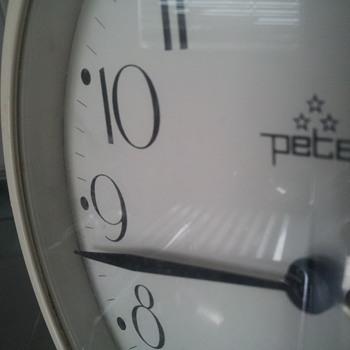 White, big, vintage, old alarm clock Peter - Clocks
