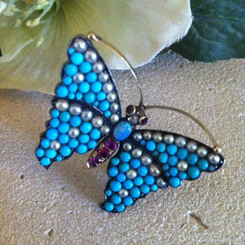 Butterfly early victorian brooch. - Fine Jewelry