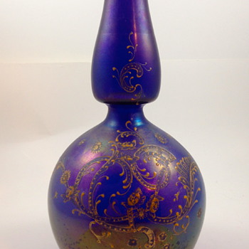 Bohemian Iridescent Rococo Enameled & Gilt Vase #3 - Art Glass