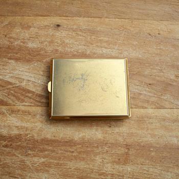 Gold & Silver Colored Cigarette Case w/ 3 Arrows, Diamond Emerald type Adornment - Tobacciana