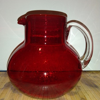 Vintage Cherry Red Glass Pitcher - Glassware