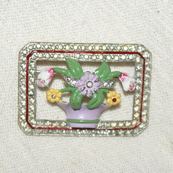 Vintage Rhinestone Pot Metal and Enamel Brooch (Coro?) - Costume Jewelry