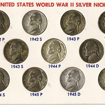U.S. WW II Silver Nickels (1942-1945)