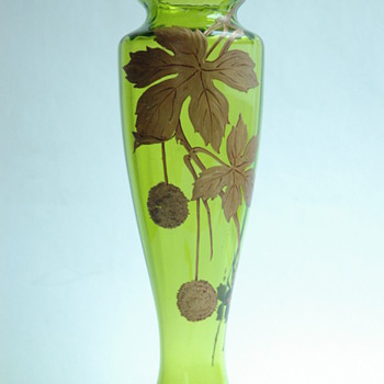 "french baccarat cristal vase with gold enamel "" PLANER TREE"" pattern  - Art Nouveau"