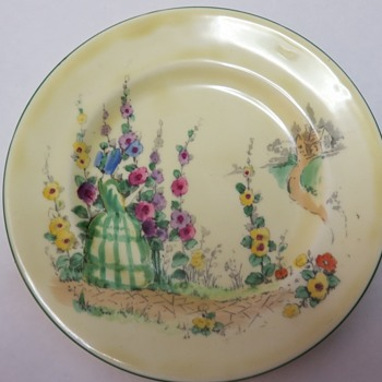 Crown Staffordshire Plate - Hand Painted - Hollyhocks and Woman in Green Dress - China and Dinnerware