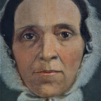 19th Century Painting Of A Woman (Possibly Elizabeth Shaffer Weiser) Wearing A Ruffled Lace Cap - Fine Art
