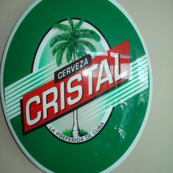 VINTAGE CRISTAL CERVEZA BEER ADVERTISING SIGNS