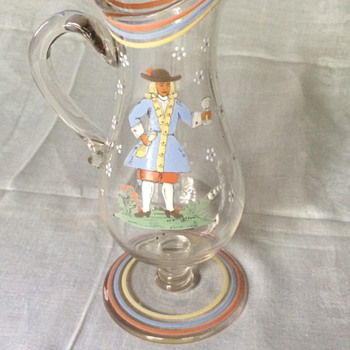 My grandmother's hand painted glass pitcher - Glassware