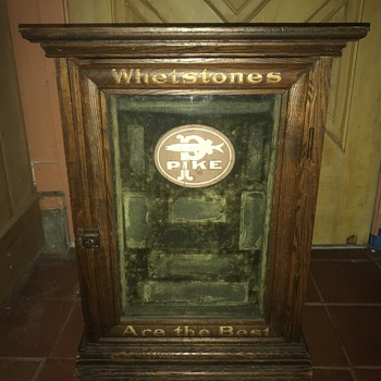 Antique oak country store Table top advertising display cabinet - Advertising