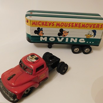 1957 Tin Litho Mickeys' Mousekemovers Moving Friction Van by Linemar - Animals