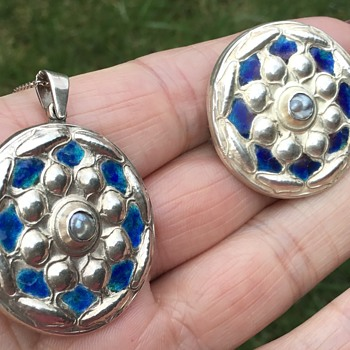 Antique Silver and Enamel Liberty & Co Brooch and Pendant  - Fine Jewelry