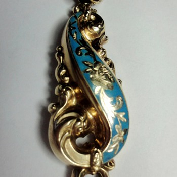 Biedermeier  turkoois enameled gold pendant - Fine Jewelry