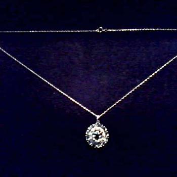 Sparkly 10K White Gold Pendant / White Sapphire and Diamonds / Marked Mexico / Circa 20th Century - Fine Jewelry