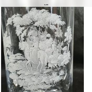 Webb Corbett lady on horseback engraved decanter - Art Glass