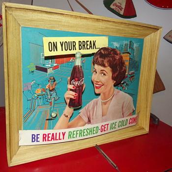 1960 Coca-Cola 3-D Cardboard Sign - Coca-Cola