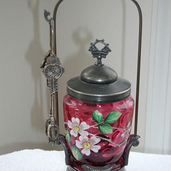 Cranberry Glass Pickle Jar - Art Glass