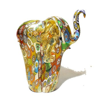 Murano Art Glass Ornament Millefiori Elephant - Galliano Ferro - Art Glass