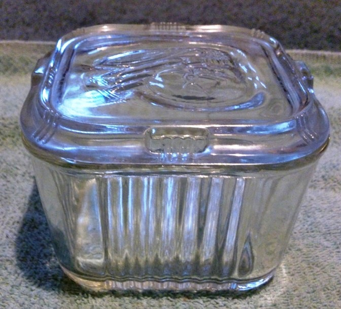 Vintage Federal Glass Refrigerator Dish Embossed Vegetable Design