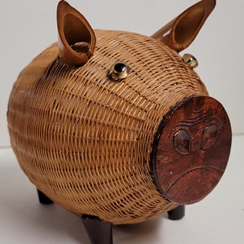 Wicker Piggy Bank - Coin Operated