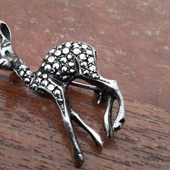 1950s Sterling silver marcasite  doe brooch - Silver