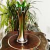 Vintage Fenton Flute Green Purple Carnival Glass Vase Tall
