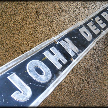 JOHN DEERE Sign - Black and Silver Metal - Embossed - Advertising