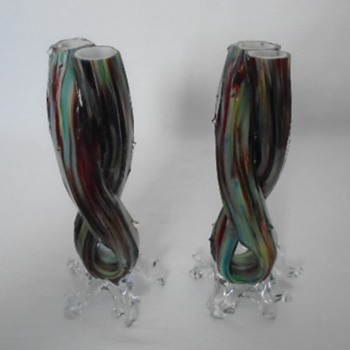 Welz Double Thorn Vases - Art Glass