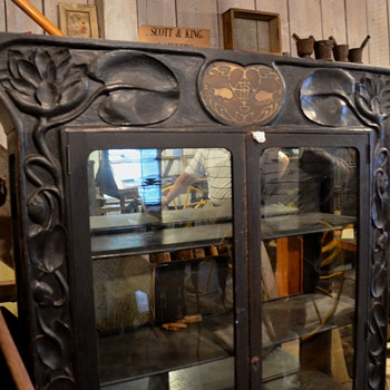 Arts and Crafts style carved display cabinet  - Furniture