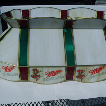 Miller High Life Stained Glass Pool Table light - Breweriana