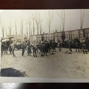 American Base Railroad Photograph, Horses and Soliders Unknow exact Year
