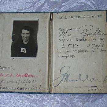 I D card 1940 - Paper