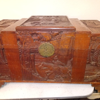 Antique Chinese?? Handcarved wood trunk - Asian