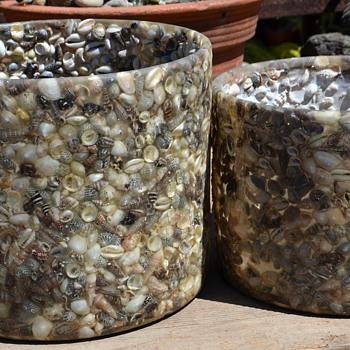 Resin or Plastic [?] and Shell Planters - Mid-Century Modern