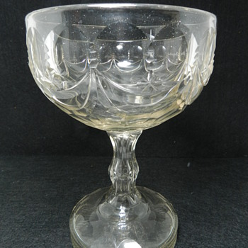 """Early Cut Crystal ENCLOSED BOTTOM? Compote 7.5"""" Tall"""