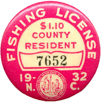 Trends in Fishing Tackle Collecting - Fishing License Badge