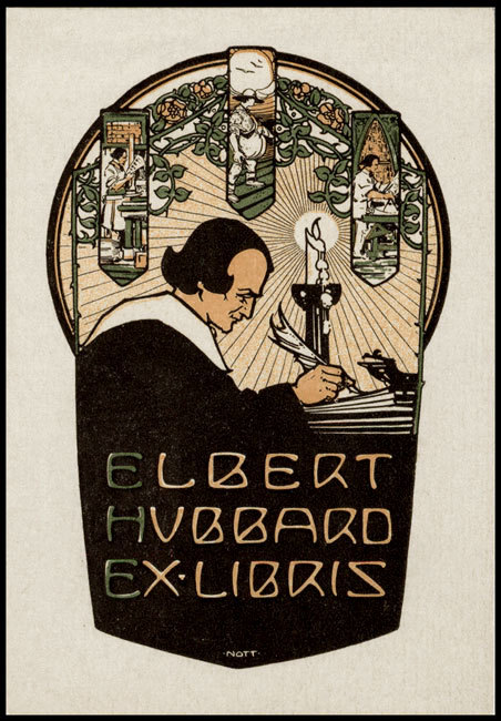 Top: One of Lew Jaffe's custom bookplates designed by Daniel Mitsui. Above: A bookplate for Elbert Hubbard, founder of the Roycroft community, designed by Raymond Nott.
