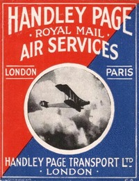 A label for Handley Page Royal Mail Air Services.