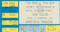 Warfield Theater Bob Dylan