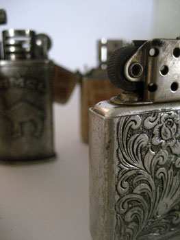 close up of zippo cigarette lighter